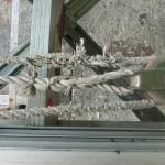 3連はしごのロープ補修