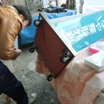 杉並区高井戸で医院のスタンド看板のキャスター修理