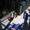 練馬区大泉学園で石材店の袖看板のカッティングシート文字はがし