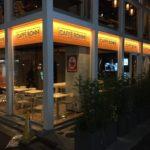渋谷区恵比寿南:カフェのガラス面に文字シート貼り