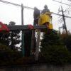 新座市栗原:造園屋さんのポール看板撤去(参考価格105,000円+税)